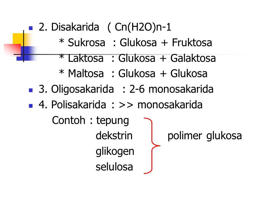 2. Disakarida ( Cn(H2O)n-1 * Sukrosa : Glukosa + Fruktosa * Laktosa : Glukosa + Galaktosa * Maltosa : Glukosa + Glukosa 3. Oligosakarida : 2-6 monosak