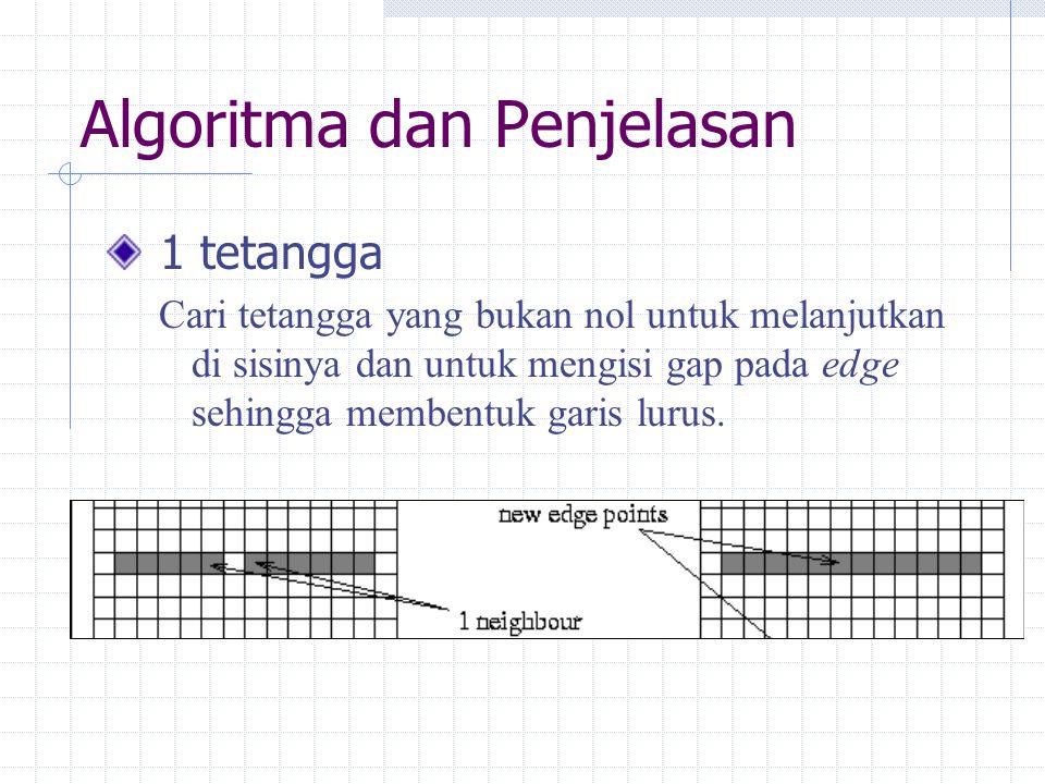 Algoritma dan Penjelasan 2 tetangga Ada tiga kemungkinan: Titik menyembul keluar dari suatu garis lurus Titik menyatu dengan piksel diagonal Selain keduanya  Valid