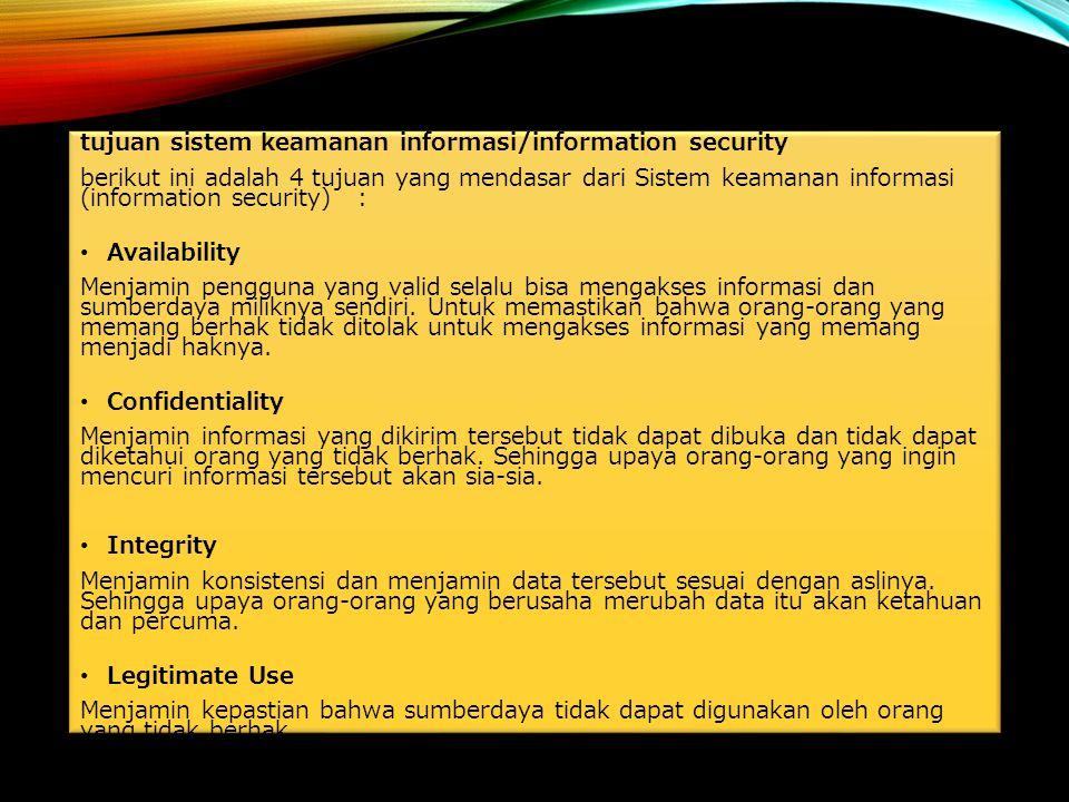 tujuan sistem keamanan informasi/information security berikut ini adalah 4 tujuan yang mendasar dari Sistem keamanan informasi (information security)
