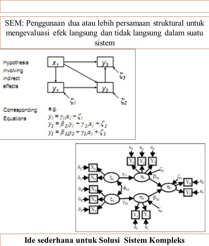 .. Ide sederhana untuk Solusi Sistem Kompleks SEM: Penggunaan dua atau lebih persamaan struktural untuk mengevaluasi efek langsung dan tidak langsung