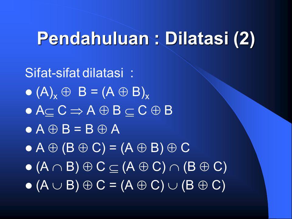 Pendahuluan : Dilatasi (2) Sifat-sifat dilatasi : (A) x  B = (A  B) x A  C  A  B  C  B A  B = B  A A  (B  C) = (A  B)  C (A  B)  C  (A