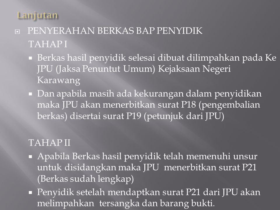  SPDP (Surat Perintah Dimulainya Penyidikan)  Dengan terbitnya SPDP penyidik memulai pemeriksaan terhadap terlapor kasus yang disangkakan  PEMBERKA