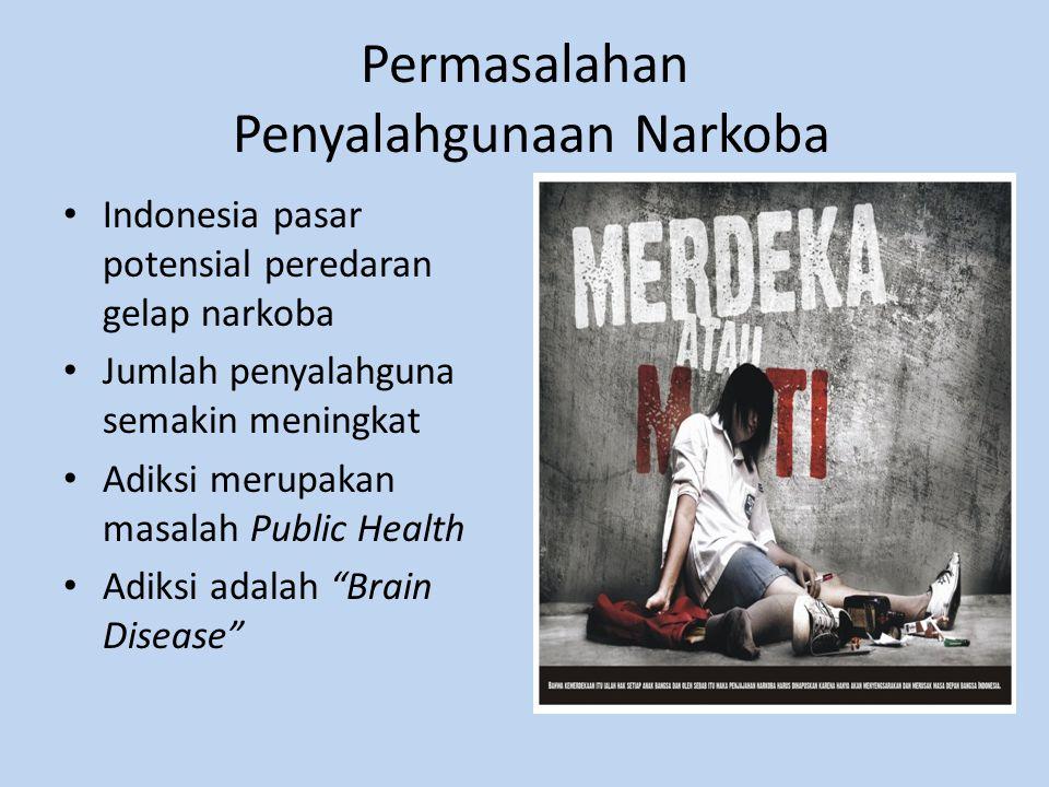 Permasalahan Penyalahgunaan Narkoba Indonesia pasar potensial peredaran gelap narkoba Jumlah penyalahguna semakin meningkat Adiksi merupakan masalah Public Health Adiksi adalah Brain Disease