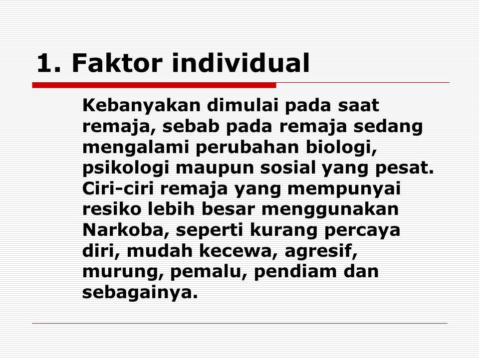 1. Faktor individual Kebanyakan dimulai pada saat remaja, sebab pada remaja sedang mengalami perubahan biologi, psikologi maupun sosial yang pesat. Ci