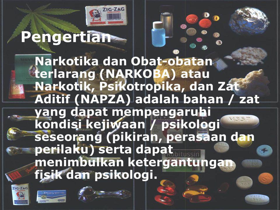 Pengertian Narkotika dan Obat-obatan terlarang (NARKOBA) atau Narkotik, Psikotropika, dan Zat Aditif (NAPZA) adalah bahan / zat yang dapat mempengaruh