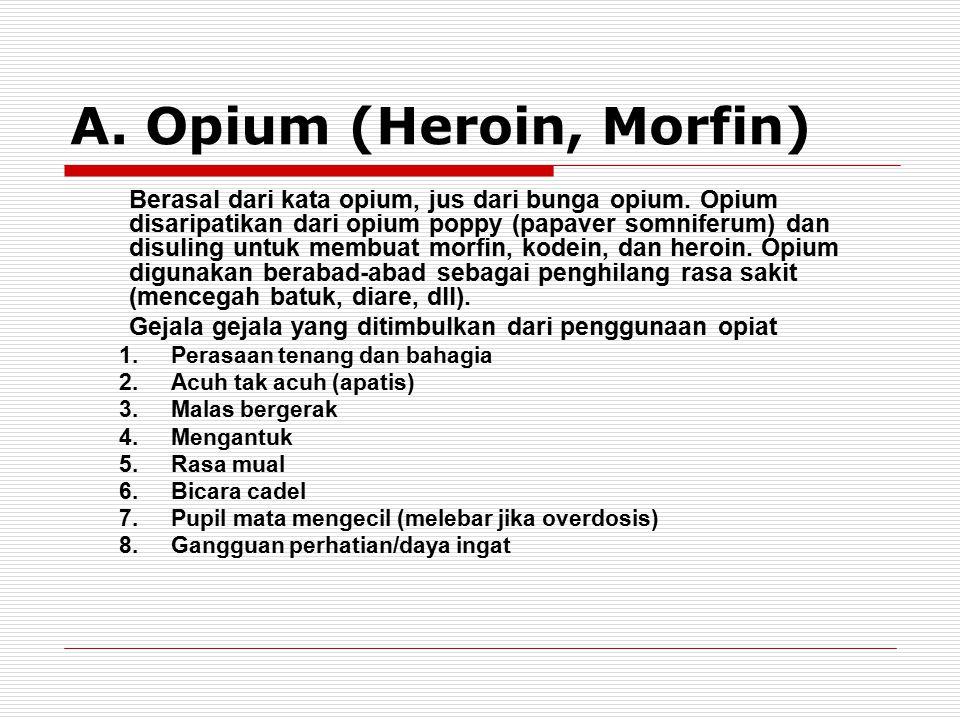 A. Opium (Heroin, Morfin) Berasal dari kata opium, jus dari bunga opium. Opium disaripatikan dari opium poppy (papaver somniferum) dan disuling untuk