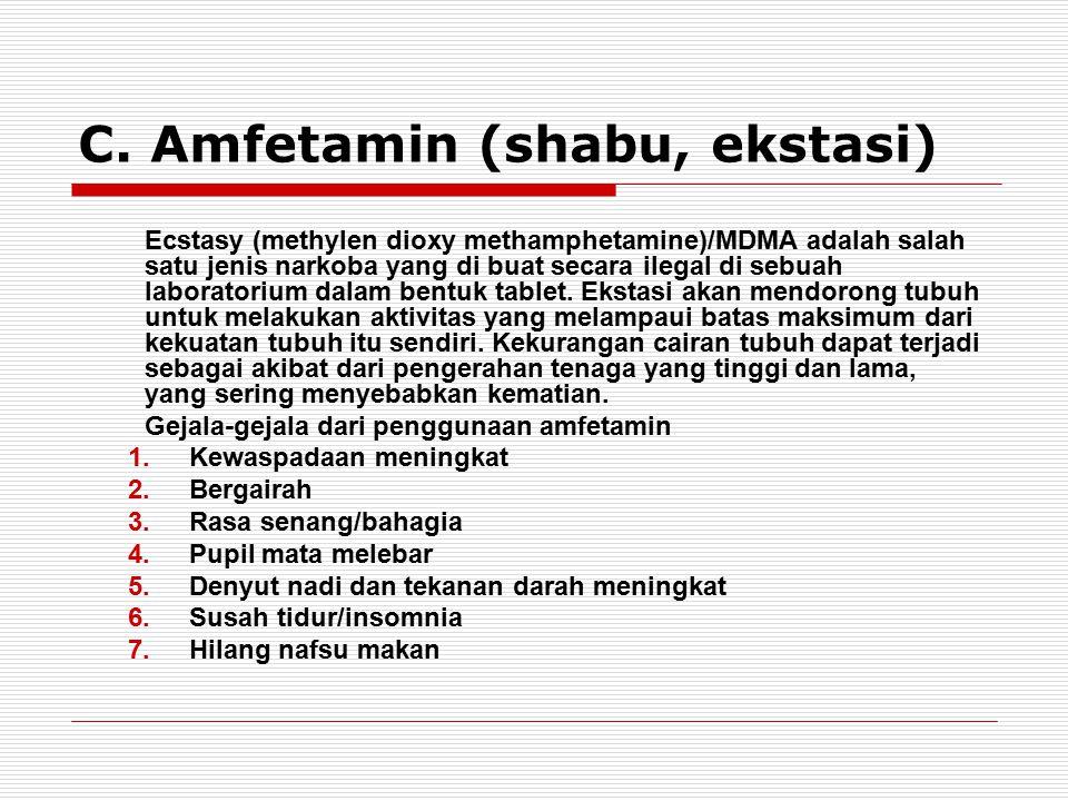 C. Amfetamin (shabu, ekstasi) Ecstasy (methylen dioxy methamphetamine)/MDMA adalah salah satu jenis narkoba yang di buat secara ilegal di sebuah labor