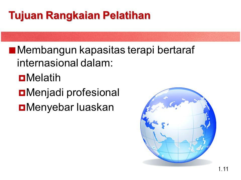 1.11 Tujuan Rangkaian Pelatihan Membangun kapasitas terapi bertaraf internasional dalam:  Melatih  Menjadi profesional  Menyebar luaskan
