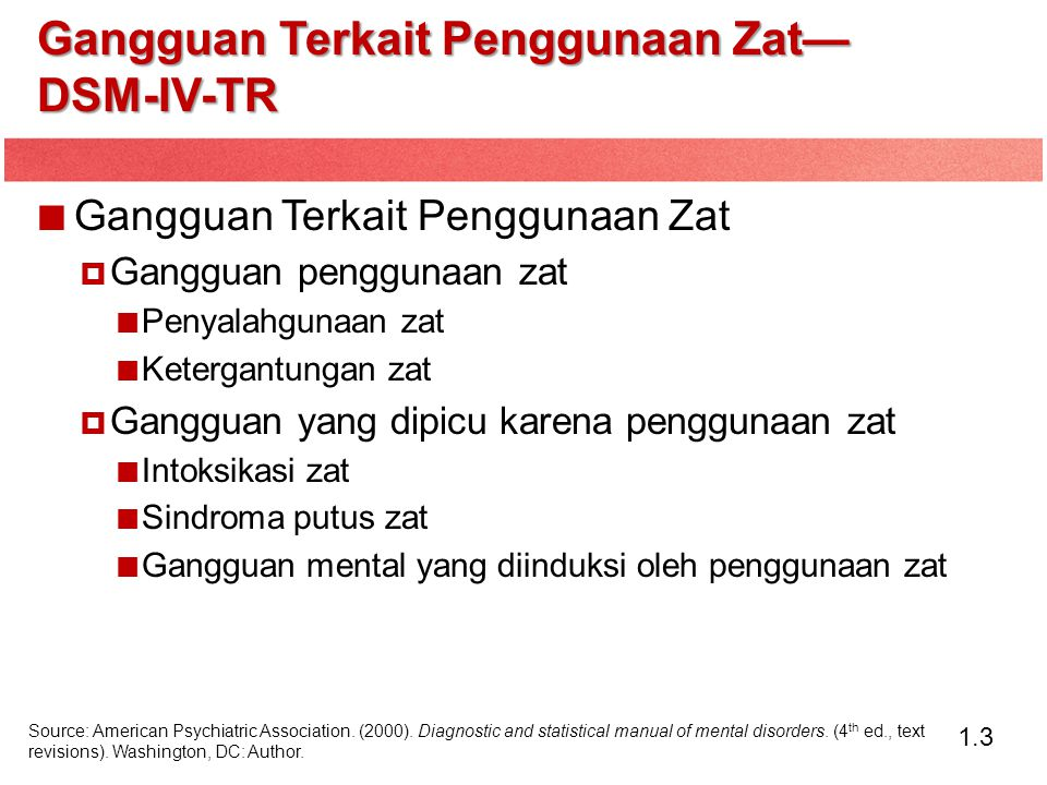1.4 Gangguan Penyalahgunaan Zat Termasuk kategori-kategori Penggunaan Berbahaya dan Sindrom Ketergantungan— World Health Organization's International Classification of Diseases (ICD)-10.
