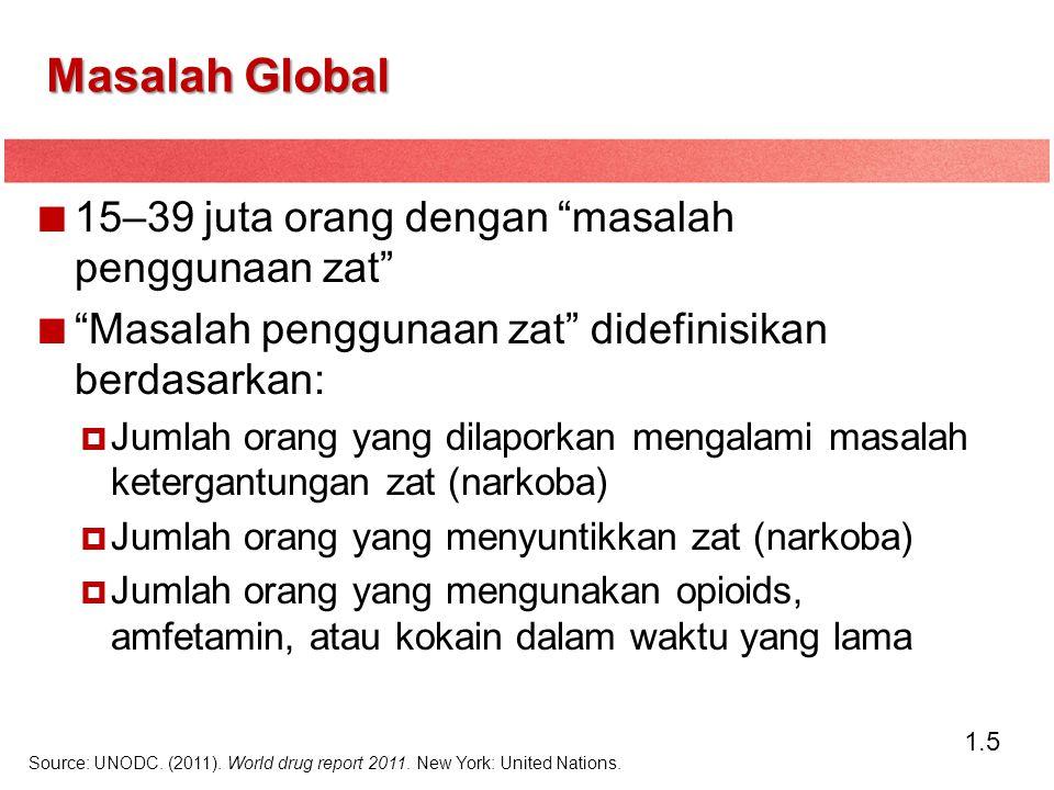"1.5 15–39 juta orang dengan ""masalah penggunaan zat"" ""Masalah penggunaan zat"" didefinisikan berdasarkan:  Jumlah orang yang dilaporkan mengalami masa"