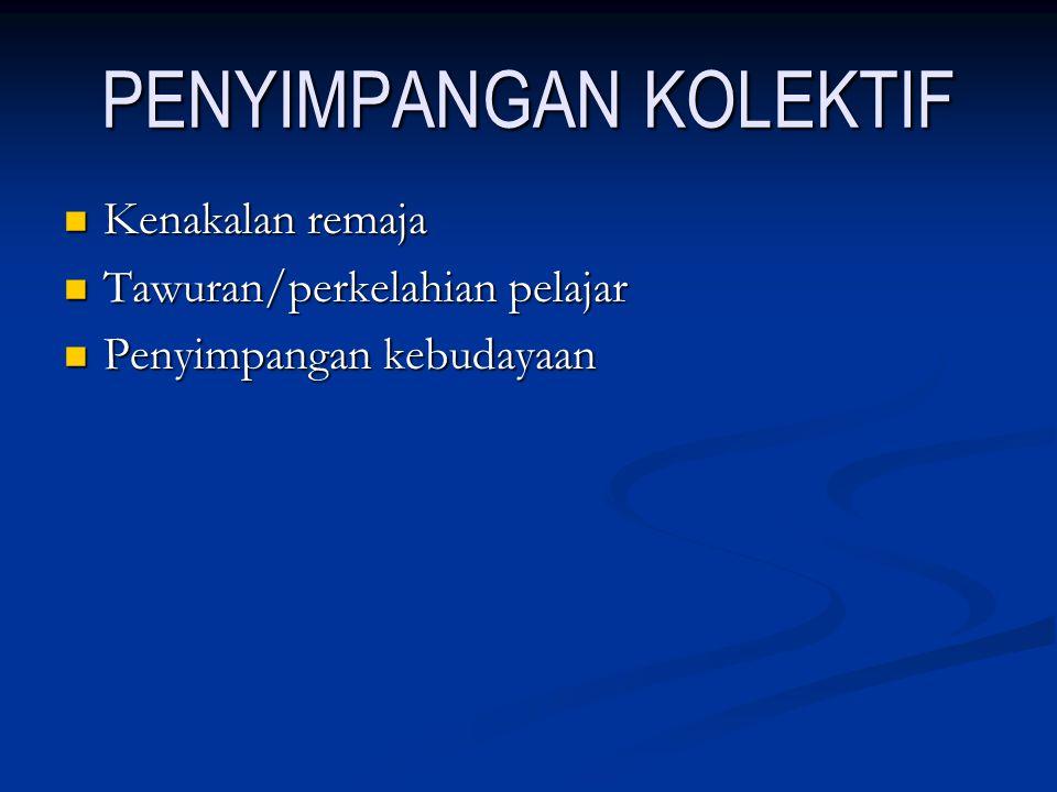 PENYIMPANGAN KOLEKTIF Kenakalan remaja Kenakalan remaja Tawuran/perkelahian pelajar Tawuran/perkelahian pelajar Penyimpangan kebudayaan Penyimpangan k