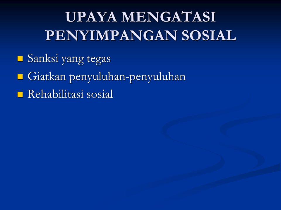 UPAYA MENGATASI PENYIMPANGAN SOSIAL Sanksi yang tegas Sanksi yang tegas Giatkan penyuluhan-penyuluhan Giatkan penyuluhan-penyuluhan Rehabilitasi sosia