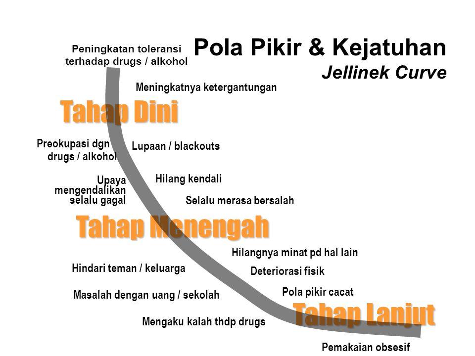 Pola Pikir Pecandu Preokupasi pada drugs / alkohol dan kehidupan di sekitar memakai drugs, cara memperoleh drugs dan lingkungan serta budaya drugs / a