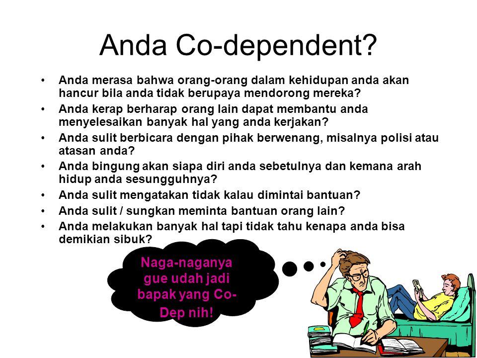 Anda Co-dependent? Anda cenderung diam saja untuk menghindari argumentasi? Cenderung khawatir akan apa yang dipikirkan orang tentang anda? Pernah hidu