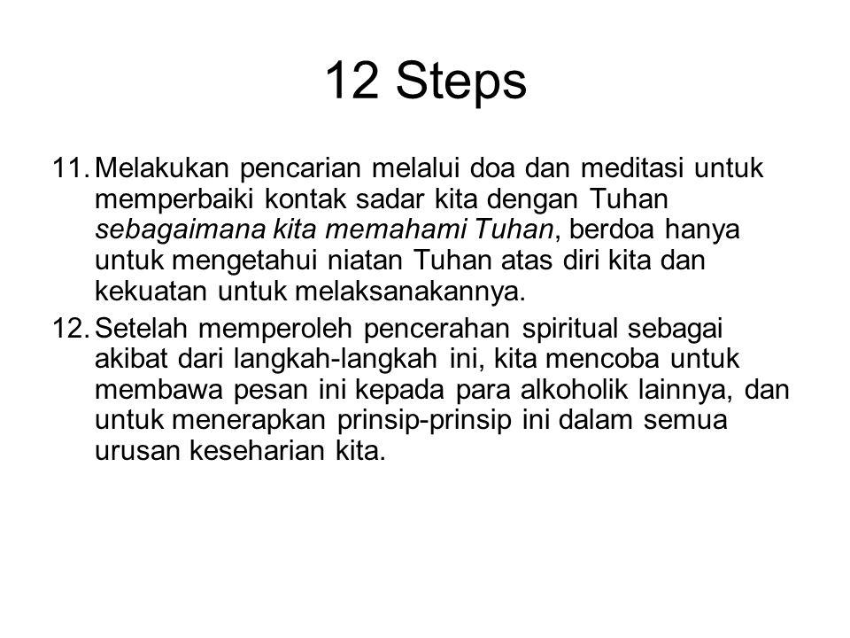 12 Steps 8.Membuat daftar orang-orang yang telah kita sakiti, dan menyiapkan diri untuk menebusnya kepada mereka semua. 9.Menebus kesalahan kita secar