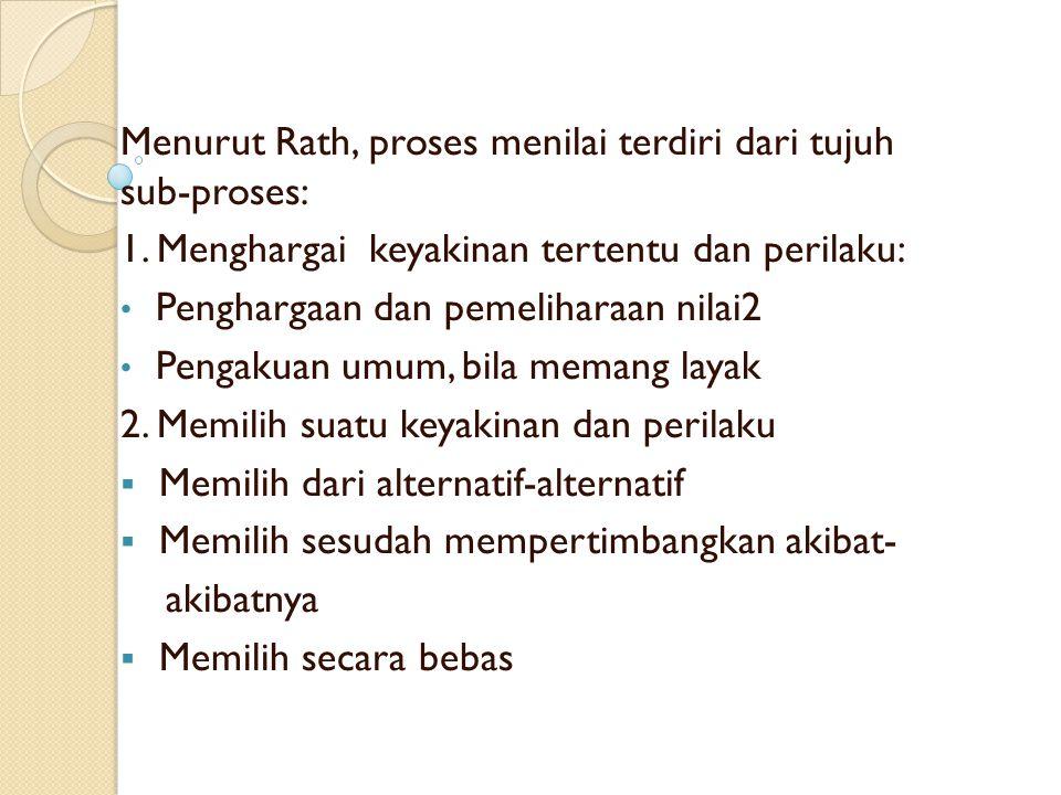 Menurut Rath, proses menilai terdiri dari tujuh sub-proses: 1.
