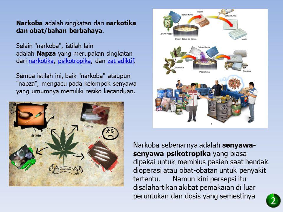 Narkoba adalah singkatan dari narkotika dan obat/bahan berbahaya. Selain