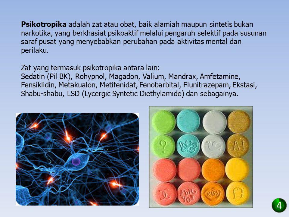 Psikotropika adalah zat atau obat, baik alamiah maupun sintetis bukan narkotika, yang berkhasiat psikoaktif melalui pengaruh selektif pada susunan saraf pusat yang menyebabkan perubahan pada aktivitas mental dan perilaku.