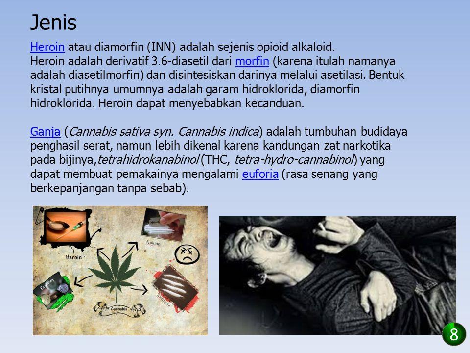 Jenis HeroinHeroin atau diamorfin (INN) adalah sejenis opioid alkaloid. Heroin adalah derivatif 3.6-diasetil dari morfin (karena itulah namanya adalah