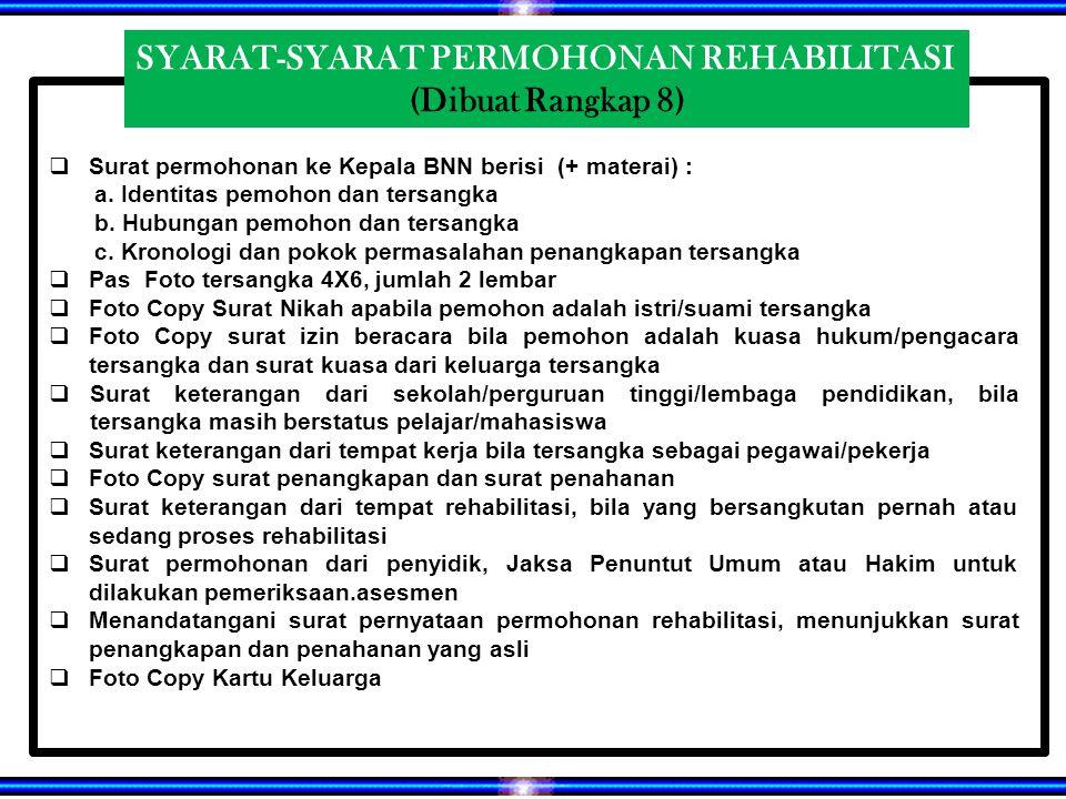 SYARAT-SYARAT PERMOHONAN REHABILITASI (Dibuat Rangkap 8)  Surat permohonan ke Kepala BNN berisi (+ materai) : a.