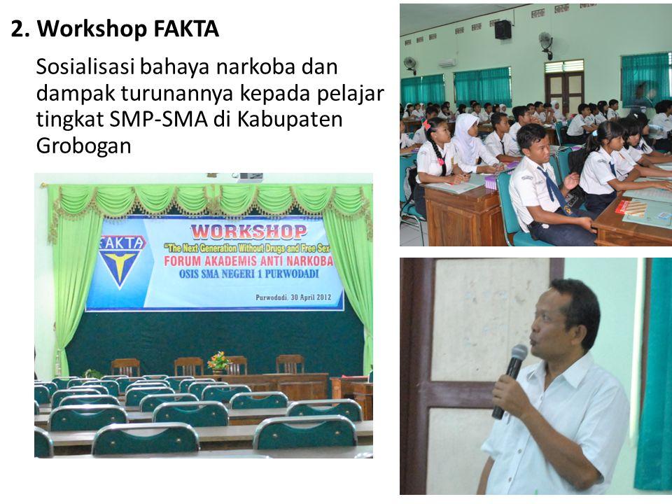 2. Workshop FAKTA Sosialisasi bahaya narkoba dan dampak turunannya kepada pelajar tingkat SMP-SMA di Kabupaten Grobogan