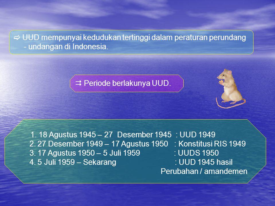 A.Konstitusi – konstitusi yang pernah berlaku di Indonesia.