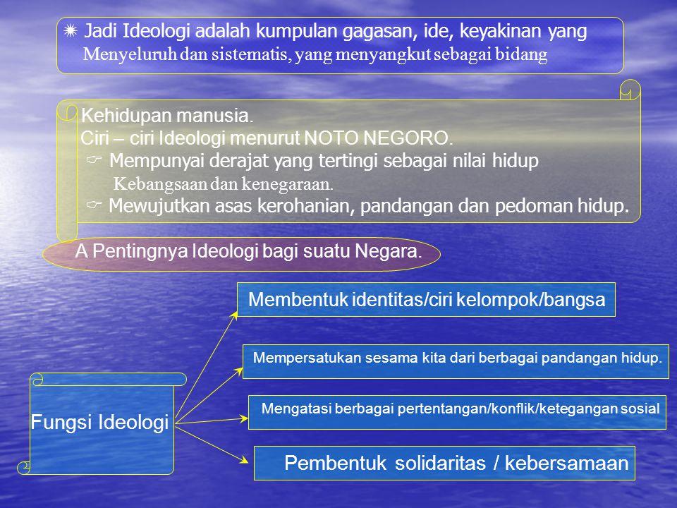 B.Nilai – nilai Pancasila sebagai ideologi Negara dan dasar Negara : 1.