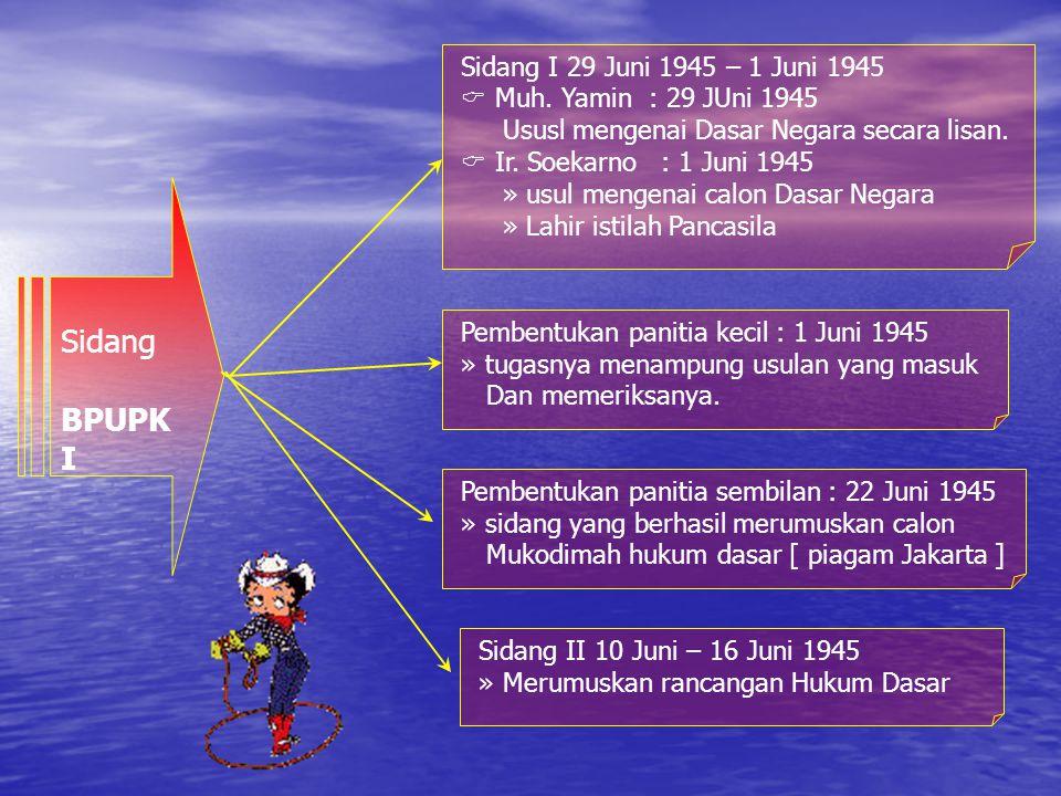 Sidang BPUPK I Sidang I 29 Juni 1945 – 1 Juni 1945  Muh.