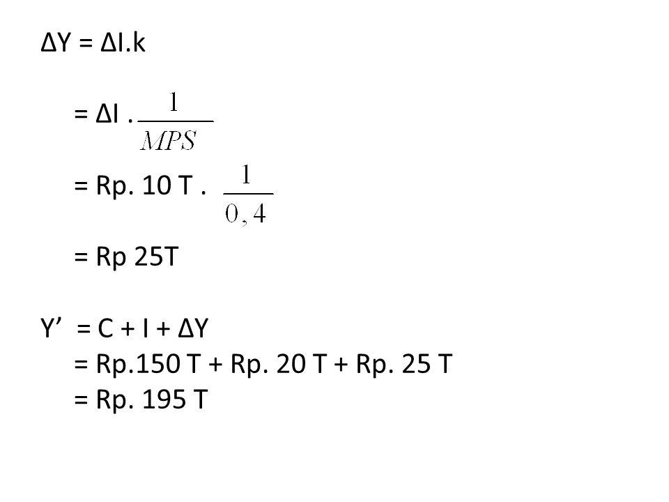 ΔY = ΔI.k = ΔI. = Rp. 10 T. = Rp 25T Y' = C + I + ΔY = Rp.150 T + Rp. 20 T + Rp. 25 T = Rp. 195 T