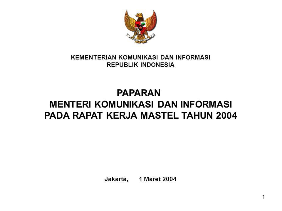1 KEMENTERIAN KOMUNIKASI DAN INFORMASI REPUBLIK INDONESIA Jakarta, 1 Maret 2004 PAPARAN MENTERI KOMUNIKASI DAN INFORMASI PADA RAPAT KERJA MASTEL TAHUN 2004