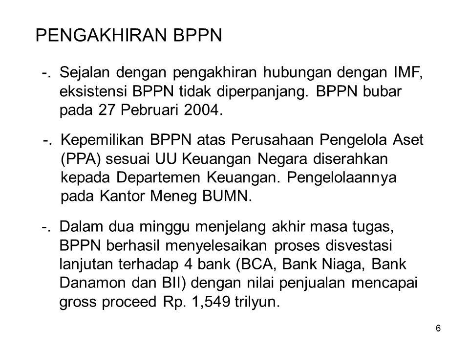 6 -.Kepemilikan BPPN atas Perusahaan Pengelola Aset (PPA) sesuai UU Keuangan Negara diserahkan kepada Departemen Keuangan.