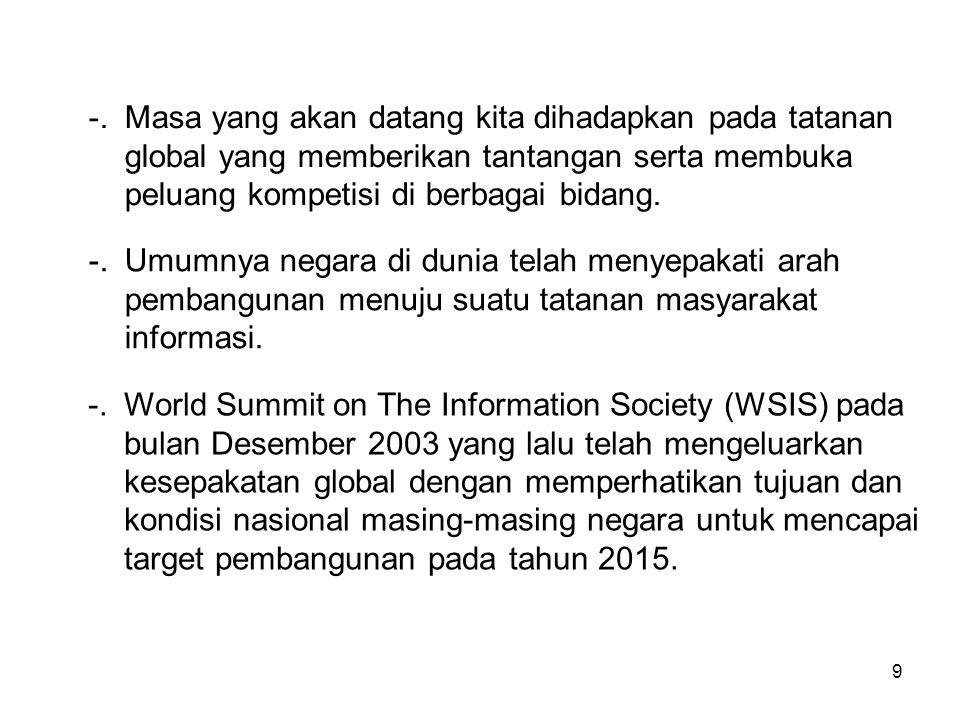 9 -.World Summit on The Information Society (WSIS) pada bulan Desember 2003 yang lalu telah mengeluarkan kesepakatan global dengan memperhatikan tujuan dan kondisi nasional masing-masing negara untuk mencapai target pembangunan pada tahun 2015.