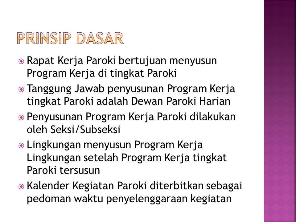  Rapat Kerja Paroki bertujuan menyusun Program Kerja di tingkat Paroki  Tanggung Jawab penyusunan Program Kerja tingkat Paroki adalah Dewan Paroki H