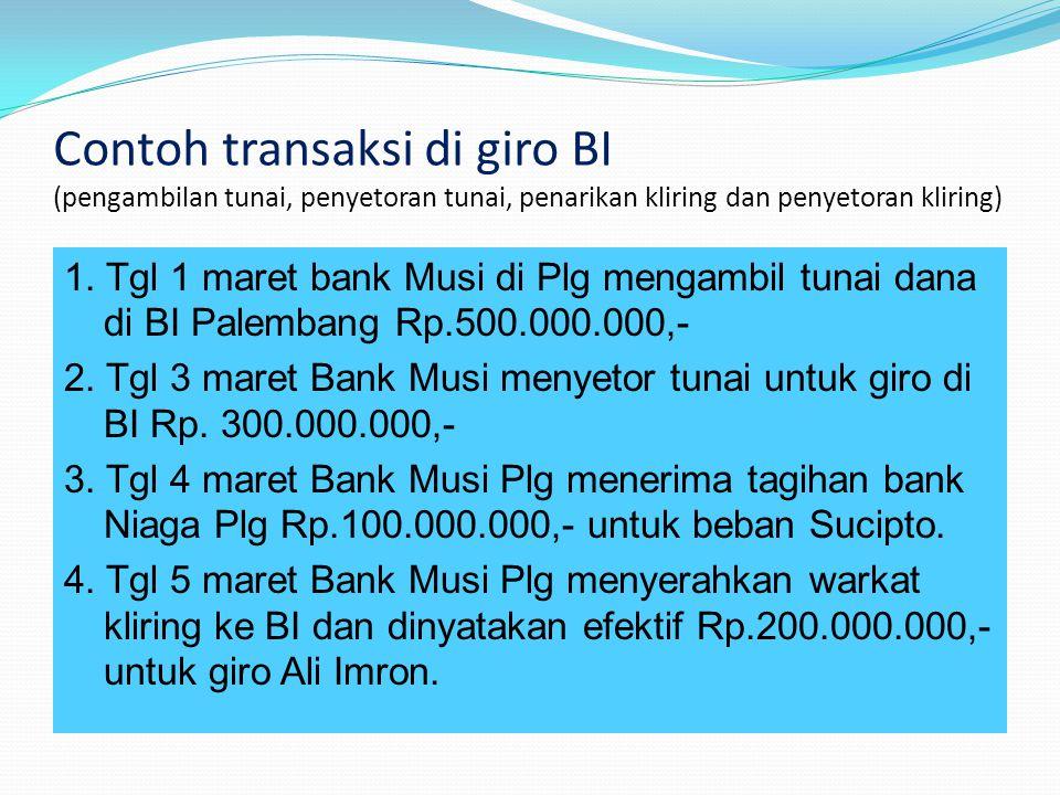 Contoh transaksi di giro BI (pengambilan tunai, penyetoran tunai, penarikan kliring dan penyetoran kliring) 1. Tgl 1 maret bank Musi di Plg mengambil