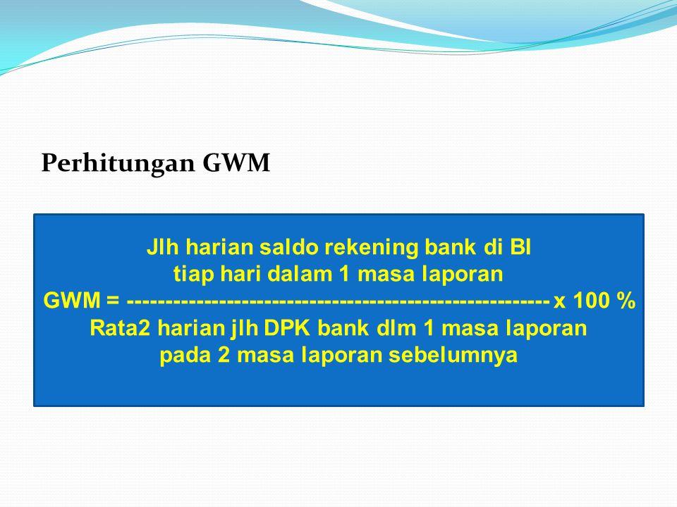 Perhitungan GWM Jlh harian saldo rekening bank di BI tiap hari dalam 1 masa laporan GWM = -------------------------------------------------------- x 1
