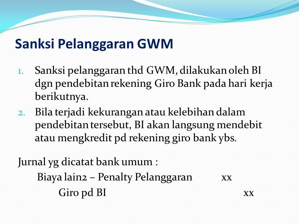 Sanksi Pelanggaran GWM 1. Sanksi pelanggaran thd GWM, dilakukan oleh BI dgn pendebitan rekening Giro Bank pada hari kerja berikutnya. 2. Bila terjadi