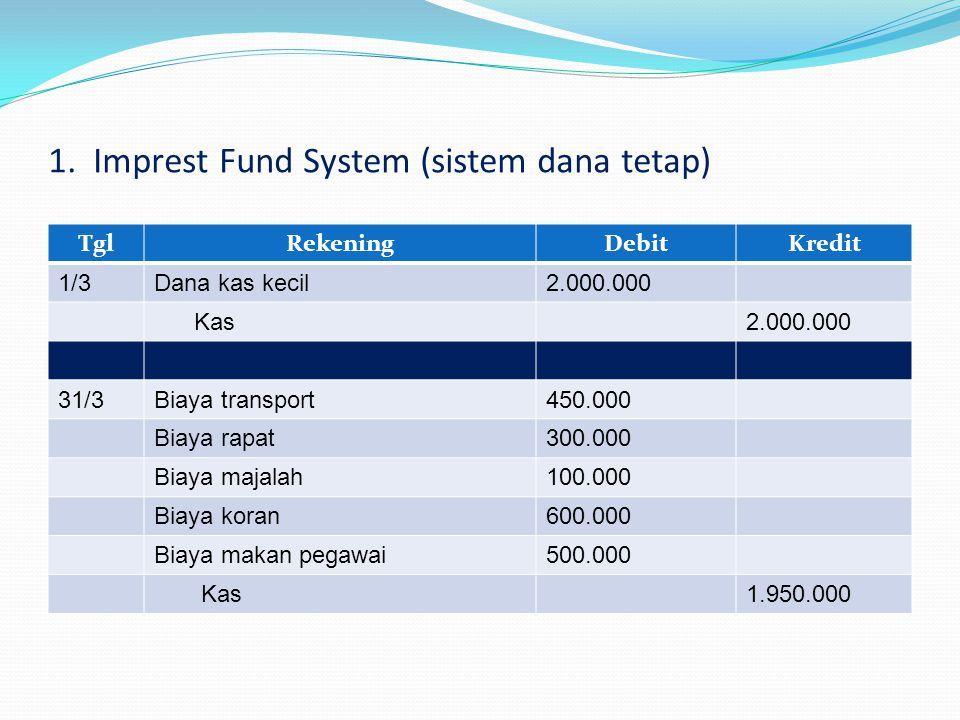 1. Imprest Fund System (sistem dana tetap) TglRekeningDebitKredit 1/3Dana kas kecil2.000.000 Kas2.000.000 31/3Biaya transport450.000 Biaya rapat300.00