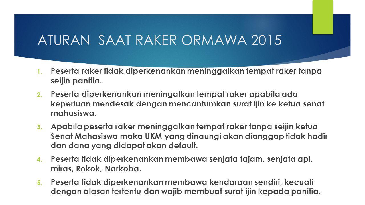 ATURAN SAAT RAKER ORMAWA 2015 1. Peserta raker tidak diperkenankan meninggalkan tempat raker tanpa seijin panitia. 2. Peserta diperkenankan meningalka