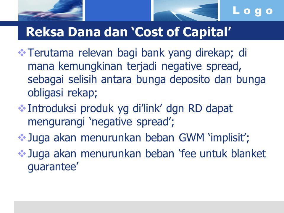 L o g o Reksa Dana dan 'Cost of Capital'  Terutama relevan bagi bank yang direkap; di mana kemungkinan terjadi negative spread, sebagai selisih antar