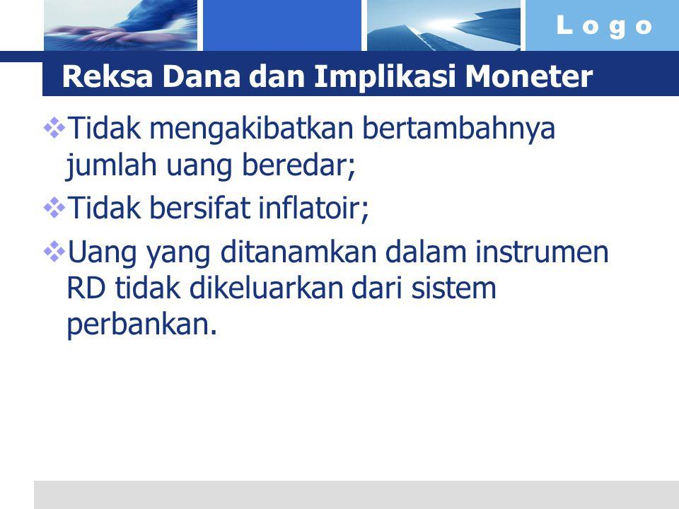 L o g o Reksa Dana dan Implikasi Moneter  Tidak mengakibatkan bertambahnya jumlah uang beredar;  Tidak bersifat inflatoir;  Uang yang ditanamkan da