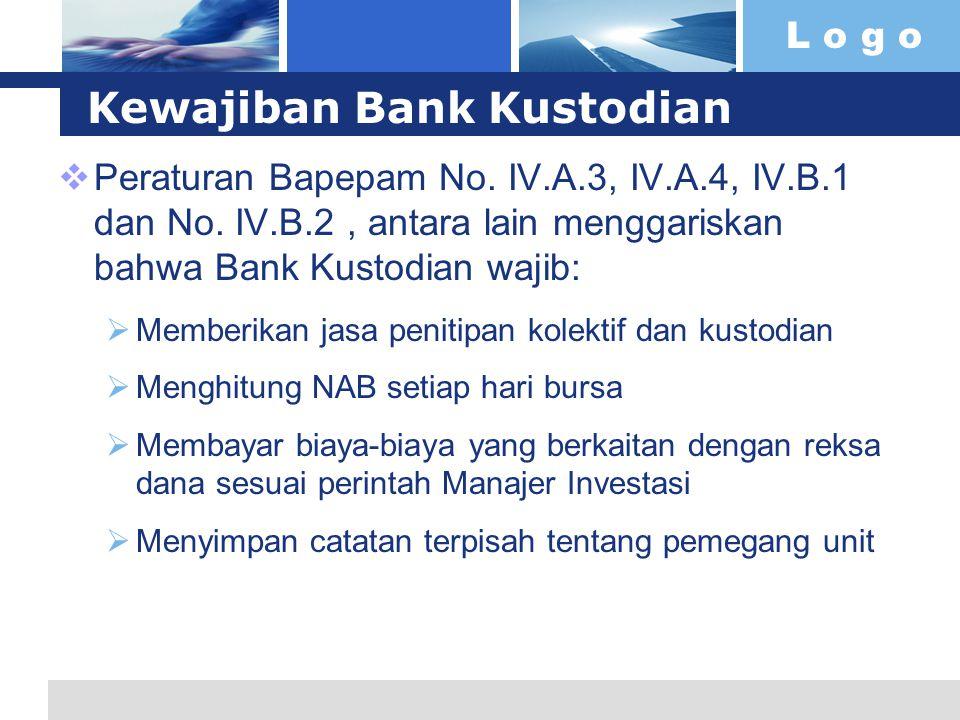 L o g o Kewajiban Bank Kustodian  Peraturan Bapepam No. IV.A.3, IV.A.4, IV.B.1 dan No. IV.B.2, antara lain menggariskan bahwa Bank Kustodian wajib: 