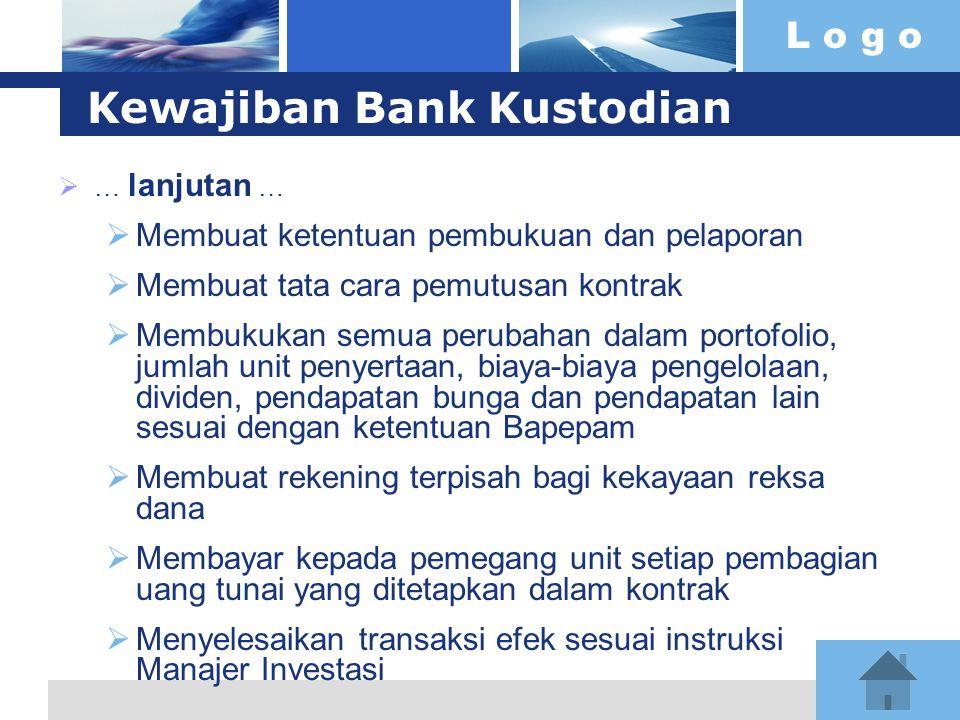 L o g o Kewajiban Bank Kustodian  … lanjutan …  Membuat ketentuan pembukuan dan pelaporan  Membuat tata cara pemutusan kontrak  Membukukan semua p