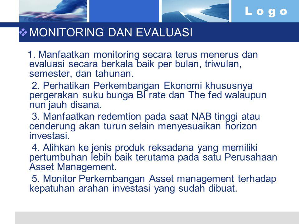 L o g o  MONITORING DAN EVALUASI 1. Manfaatkan monitoring secara terus menerus dan evaluasi secara berkala baik per bulan, triwulan, semester, dan ta
