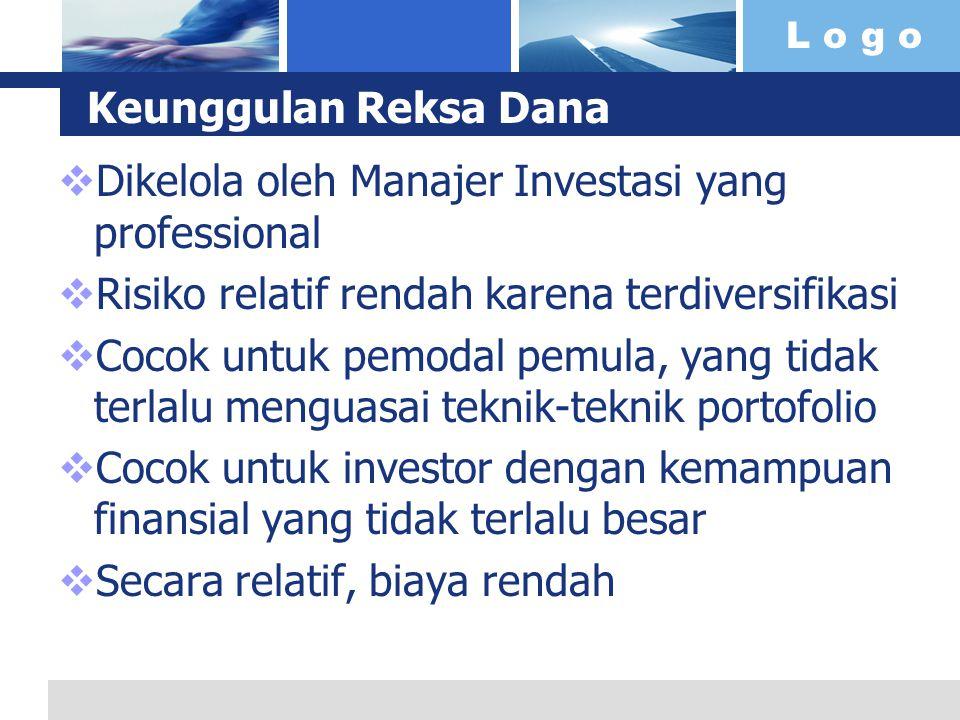 L o g o Keunggulan Reksa Dana  Dikelola oleh Manajer Investasi yang professional  Risiko relatif rendah karena terdiversifikasi  Cocok untuk pemodal pemula, yang tidak terlalu menguasai teknik-teknik portofolio  Cocok untuk investor dengan kemampuan finansial yang tidak terlalu besar  Secara relatif, biaya rendah