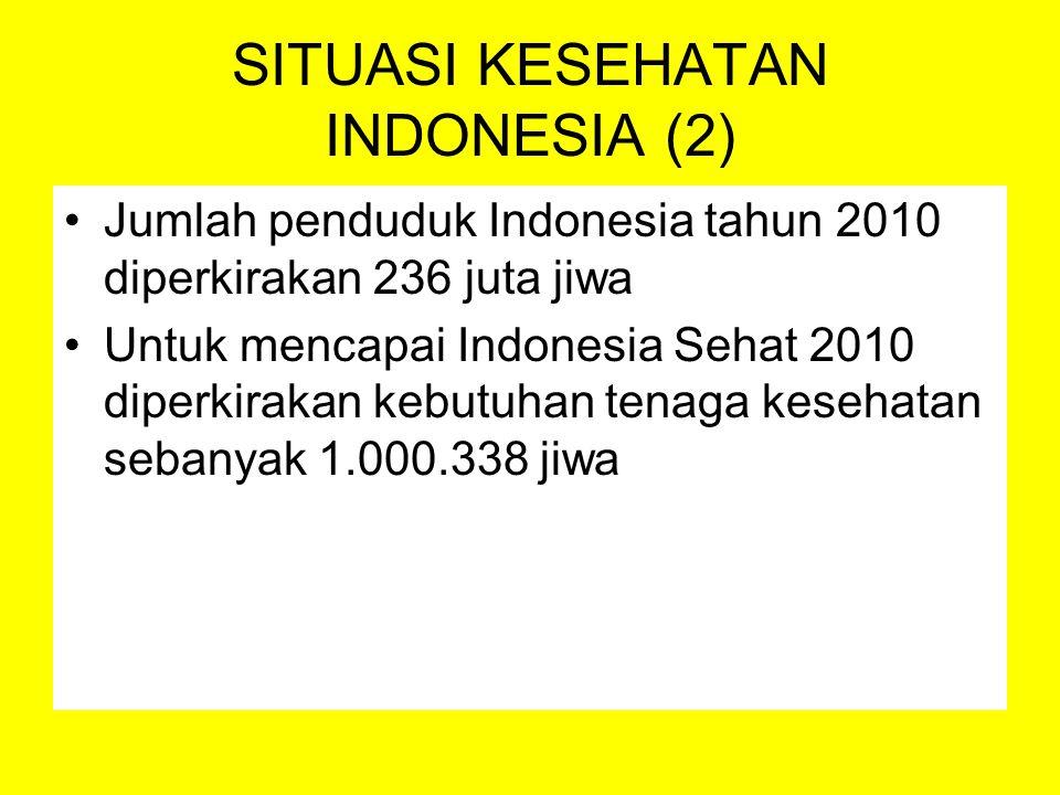 SDM Kesehatan Provinsi dengan Jumlah SDM Kesehatan terendah tahun 2005 : Gorontalo (258 orang) Maluku Utara (351 orang) Bangka Belitung (521 orang) Berdasarkan profesinya jumlah tenaga kesehatan yang bekerja di RS per 2005 adalah 159.999 dengan komposisi perawat 105.563 jiwa dan dokter 25.941 jiwa