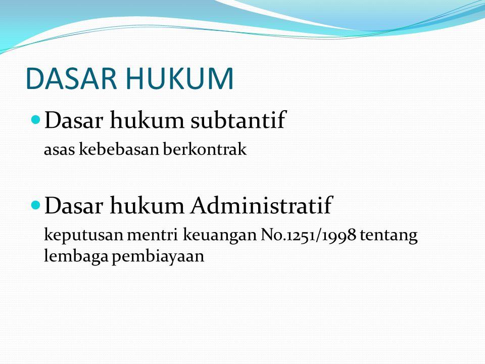DASAR HUKUM Dasar hukum subtantif asas kebebasan berkontrak Dasar hukum Administratif keputusan mentri keuangan No.1251/1998 tentang lembaga pembiayaa