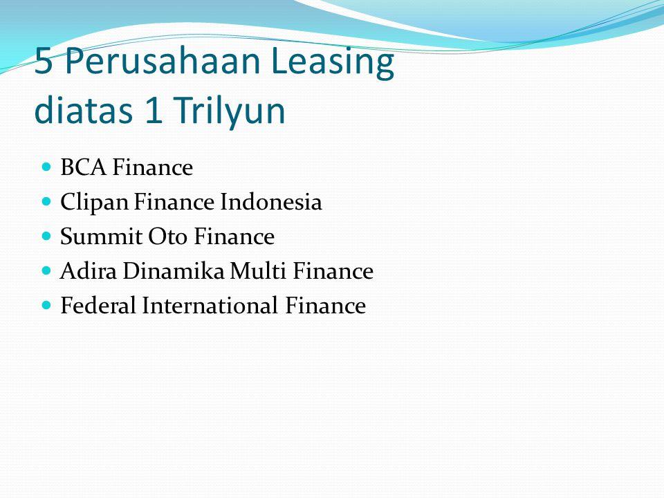 5 Perusahaan Leasing diatas 1 Trilyun BCA Finance Clipan Finance Indonesia Summit Oto Finance Adira Dinamika Multi Finance Federal International Finan