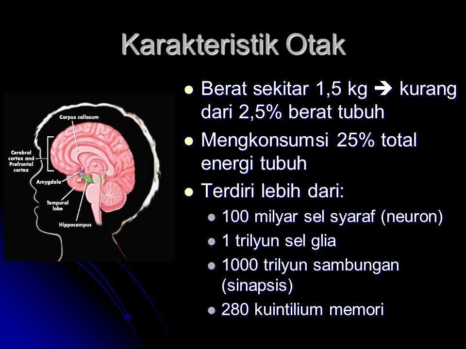 Karakteristik Otak Berat sekitar 1,5 kg  kurang dari 2,5% berat tubuh Berat sekitar 1,5 kg  kurang dari 2,5% berat tubuh Mengkonsumsi 25% total energi tubuh Mengkonsumsi 25% total energi tubuh Terdiri lebih dari: Terdiri lebih dari: 100 milyar sel syaraf (neuron) 100 milyar sel syaraf (neuron) 1 trilyun sel glia 1 trilyun sel glia 1000 trilyun sambungan (sinapsis) 1000 trilyun sambungan (sinapsis) 280 kuintilium memori 280 kuintilium memori