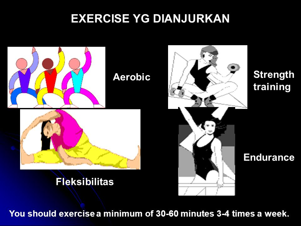 Aerobic Fleksibilitas Endurance Strength training You should exercise a minimum of 30-60 minutes 3-4 times a week. EXERCISE YG DIANJURKAN