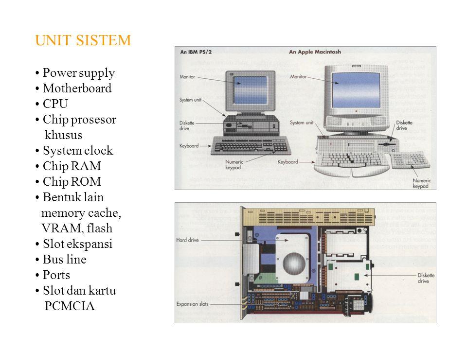 UNIT SISTEM Power supply Motherboard CPU Chip prosesor khusus System clock Chip RAM Chip ROM Bentuk lain memory cache, VRAM, flash Slot ekspansi Bus l